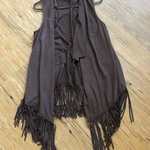 Absolutely Famous Brown Faux Suede Fringe Vest